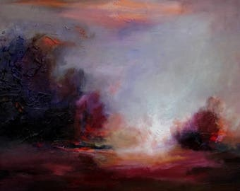 Original Painting by CES - Abstract Landscape Large Painting Minimalist Landscape Trees Painting Sky Storm Painting Large Canvas ART 20x 40