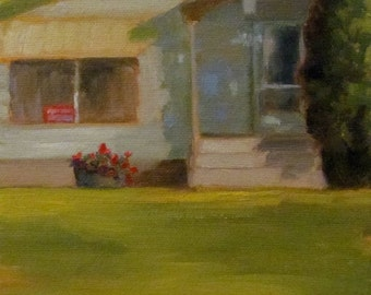 Original OIL Painting by CES - Green House Small Town Landscape Building Mini ART Lawn Grass Red Flowers Geraniums Sale Sign Saskatchewan 6""