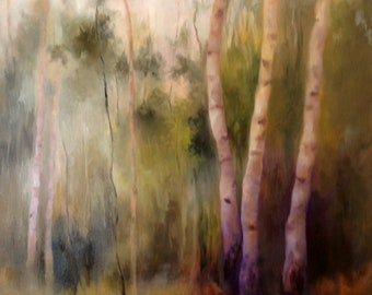 """Birch Tree Painting Original OIL Painting by CES - Landscape Painting Trees Forest Tonalism Impressionist Birch Tree Landscape ART 24"""" x 24"""""""