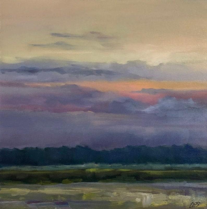 Sunset Landscape Original OIL Painting CES  Night Clouds image 0