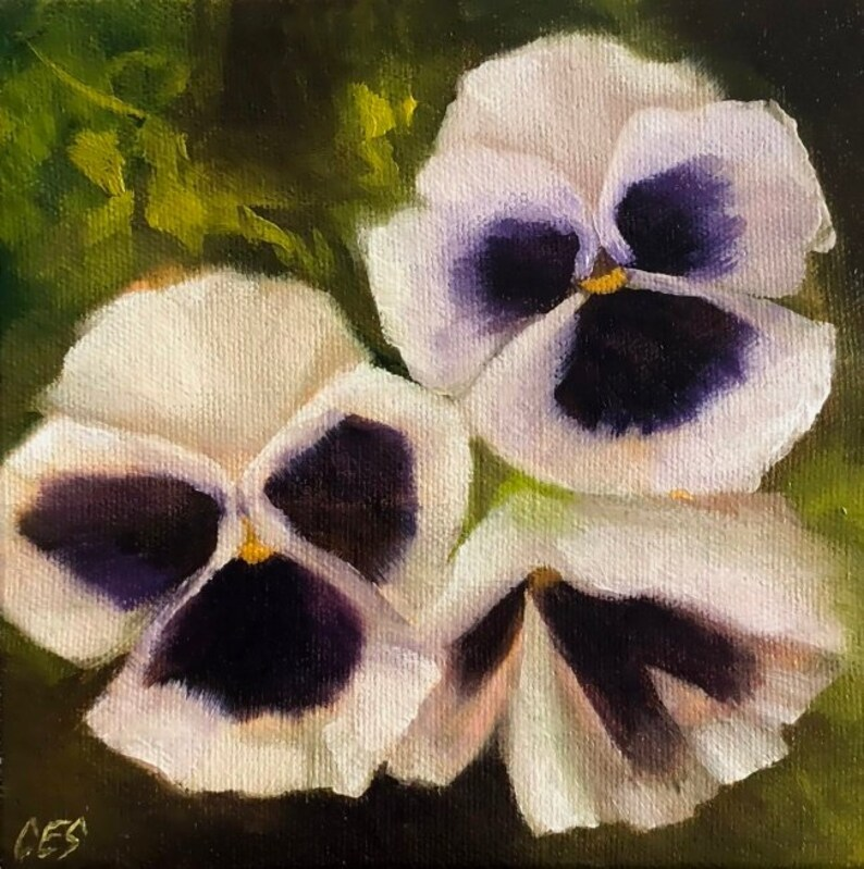 Pansies OIL Painting by CES Original Small Canvas Mini Art image 0