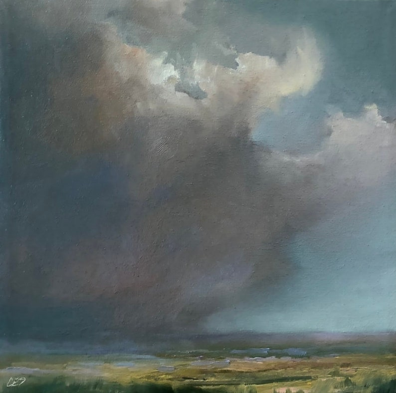 Painting Clouds Landscape Painting Original OIL Painting by image 0