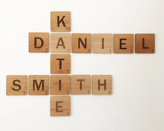 Laser Engraved Personalized Scrabble Tiles