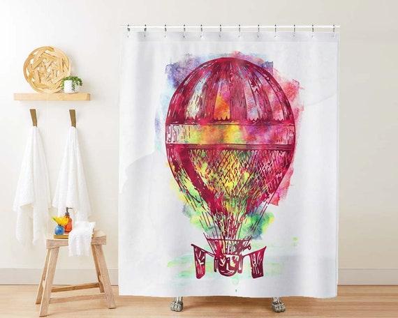 Hot Air Balloon Shower Curtain Bathroom, Hot Air Balloon Bathroom Decor