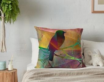 Decorative pillow case, Throw pillow cover, Bird on a branch decorative pillow case, Art pillow, Home decor, Robin pillowcase, RBPap073