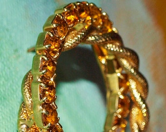 Double Circles Topaz Amber Rhinestone Eternity Brooch Mother's Day -- 0098