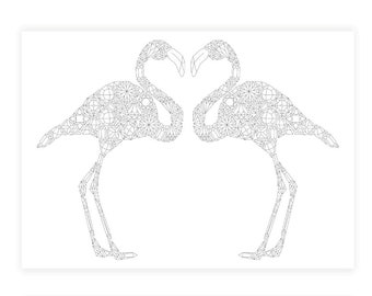 Flamingo Coloring Page, Adult Coloring Page, Giant Coloring Page, Flamingo Poster Coloring, Flamingos Coloring Poster, Birds Coloring Page
