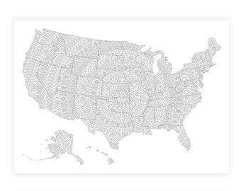 USA Map Poster, Mandala Travel Map, Mandala US Map, US Travel Map, Mandala Map of United States, Mandala Poster Us Map, Us Travel Map Poster
