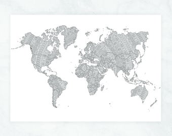 World Map Poster, Coloring Travel Map of the World, Adult Coloring Travel Map, Mandala World Map Wall Art, Mandala Coloring World Map Poster