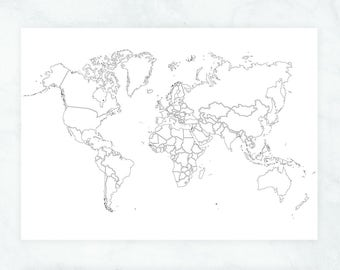 coloring world map etsy Saint Marie Caribbean Map world map wall art travel map of the world large world map poster black and white world map coloring poster political world map poster