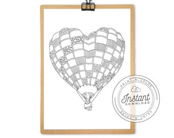 Printable Adult Coloring Page, Hot Air Balloon Heart, Digital Adult Coloring Book Instant Download, Hot Air Balloons Colouring Page Print