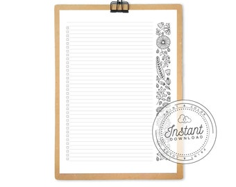Flower To Do List Printable Page for Journaling, Adult Coloring Planner Pages, Checkboxes List, Grocery List with Flowers Margin Coloring