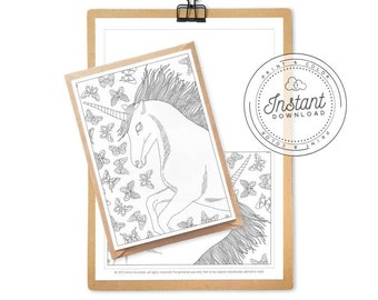 Unicorn Coloring Page for Adults, Butterflies Pattern Coloring Book, Printable Greeting Card, Unicorn Postcard, 5x7 Card, Printable 8,5x11