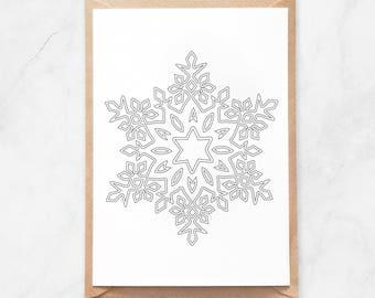 snowflake postcard winter postcard christmas postcard snowflake mandala postcard adult coloring postcard coloring snowflake postcard