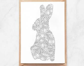 Rabbit Coloring Postcard, Gems Rabbit Postcard, Rabbit Coloring Page Postcard, Rabbit Coloring Page, Diamonds Postcard, Gemstones Postcard