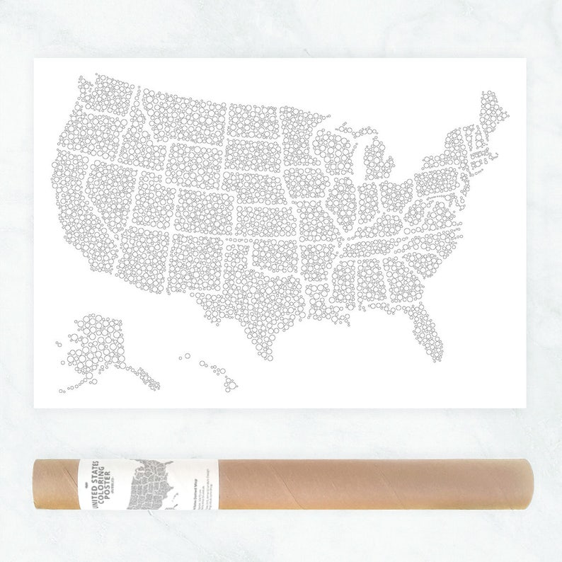 US Map Coloring Poster USA Map Poster Adult Coloring Poster   Etsy