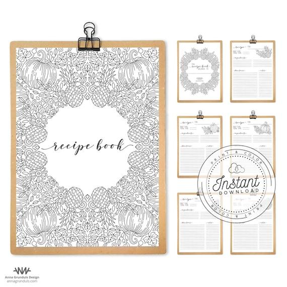 Recipe Binder Printable Kit Recipe Book Printable Blank Diy Etsy
