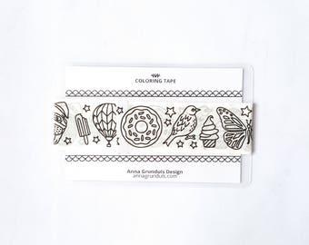 Unicorn Washi Tape Samples, Planner Washi Tape Sample, Kawaii Washi Tape, Adult Coloring Washi Tape, Sample Washi Tape, Cute Washi Tape