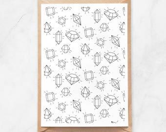 Shining Gems Pattern Postcard, Coloring Gems Postcard, Adult Coloring Postcard, Diamonds Postcard, Gemstones Postcard, Handmade Postcard