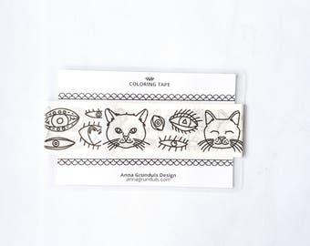 Cats Washi Tape Sample, Sample Washi Tape Cats, Cat Washi Sample, Adult Coloring Washi Tape, Cats Coloring Tape, Cat Eyes Washi Tape Sample