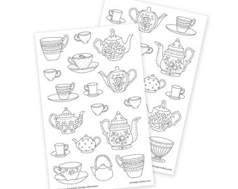 Coloring Stickers Tea Cups, Passion Planner Stickers, Meal Stickers, Mandala Stickers, Planner Addict Gifts, Hydration Stickers, Hydrate