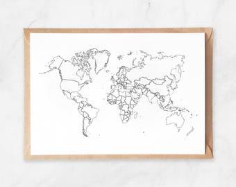 White World Map Postcard, Modern Map Illustration Postcard, Travel Map Postcard, Postcard World Map Wall Art, White Map of the World Card