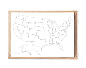 Set of 5, USA Travel Map Postcard, USA Map Postcard, US Travel Map Greeting Card, United States Map, Usa Outlines Map, White Usa Note Card
