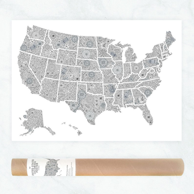 Usa Travel Map Poster Us Map To Color In Us Travel Map Etsy