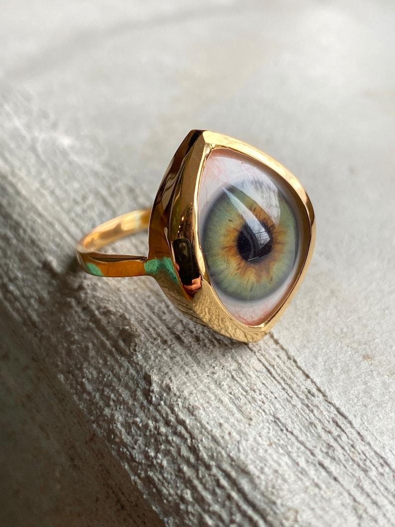 Size 10 hazel green eye set in sterling silver ring setting plated in 14k gold