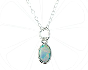 FREE SHIPPING USA, Tiny Opal Necklace, Opal Pendant, Opal Jewelry, Opal Birthstone, October Birthstone, Gemstone Necklace, Gift for Her,