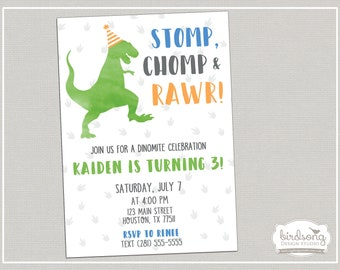 Dinosaur birthday invitation custom printable digital