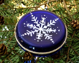 Snowflake Wine Bottle Ornament - Wine - Wine Gifts - Wine Decor - Christmas Ornament - Handmade ornament - Hand painted Ornaments -