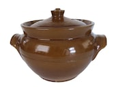 Antique Pearson 39 s Chesterfield England Brown Glazed Stoneware Bean Casserole Crock Pot With Double Handles and Lid