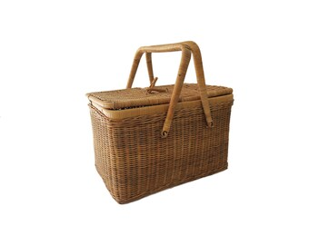 Vintage Woven Wicker Wood Picnic Basket with Double Folding Handles