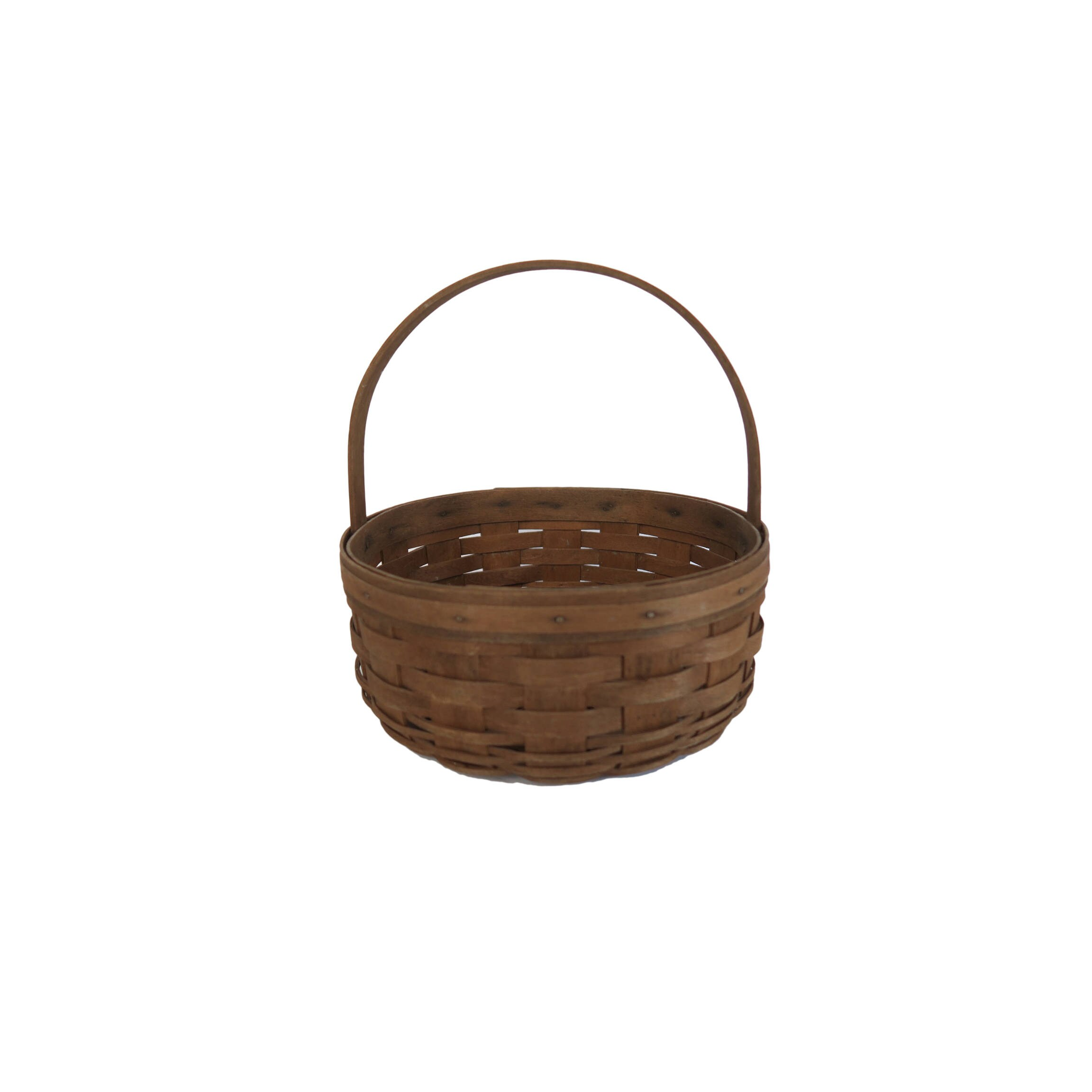 Vintage Longaberger Large Round Woven Wood Basket with Handle