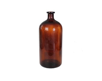 Vintage Large Apothecary Brown Glass Bottle Jug Vase