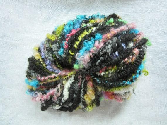 OOAK Boucle Yarn for Knitting BulkyChunky 87 yds Handspun Textured Art Yarn 3 Ply Weaving and Mixed Media Arts