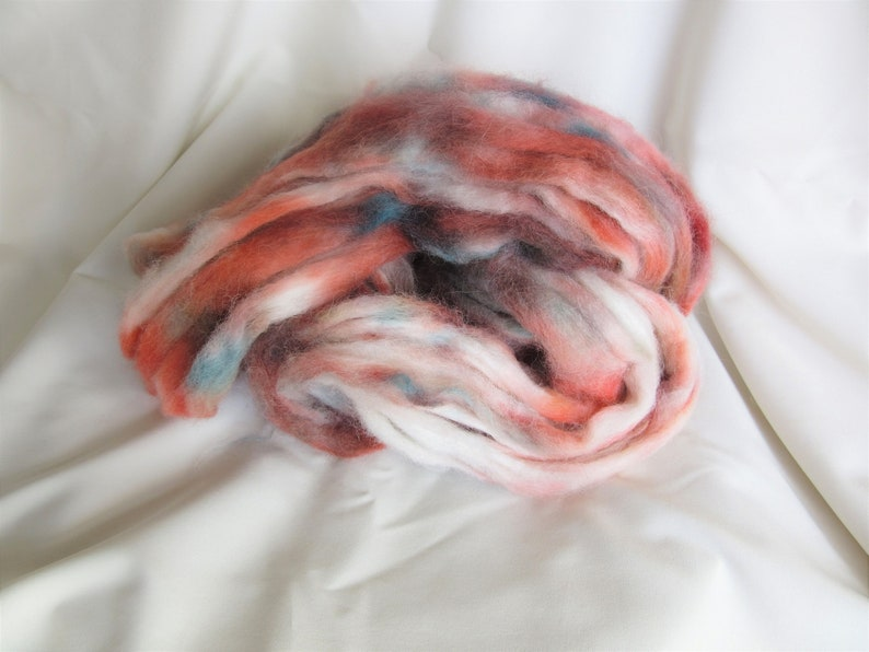 2 oz Teal and Salmon 100/% Alpaca Roving Indie Speckle Dyed Russet