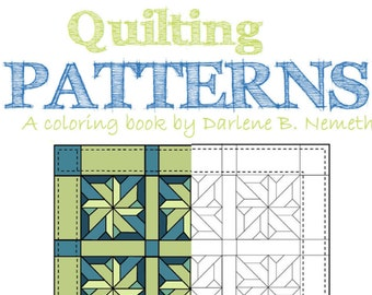 25 Coloring Pages Quilting Pattern Book Wall Art Gift For Her Under 20