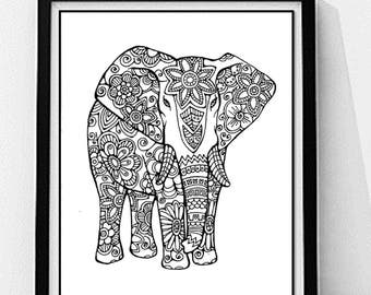 Elephant Coloring Page To Print And Color Nature Flowers Adult Original Instant Digital Download
