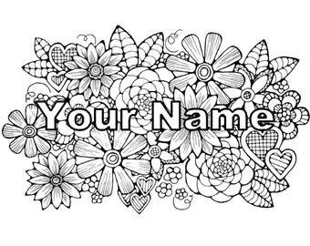 Custom Coloring Page Flower Adult Original Art Instant Digital Download Gift For Her