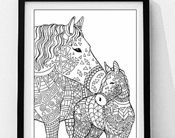 Colt Coloring Page To Print And Color Nature Adult Instant Digital Download Digi Stamps Scrap Booking Printable