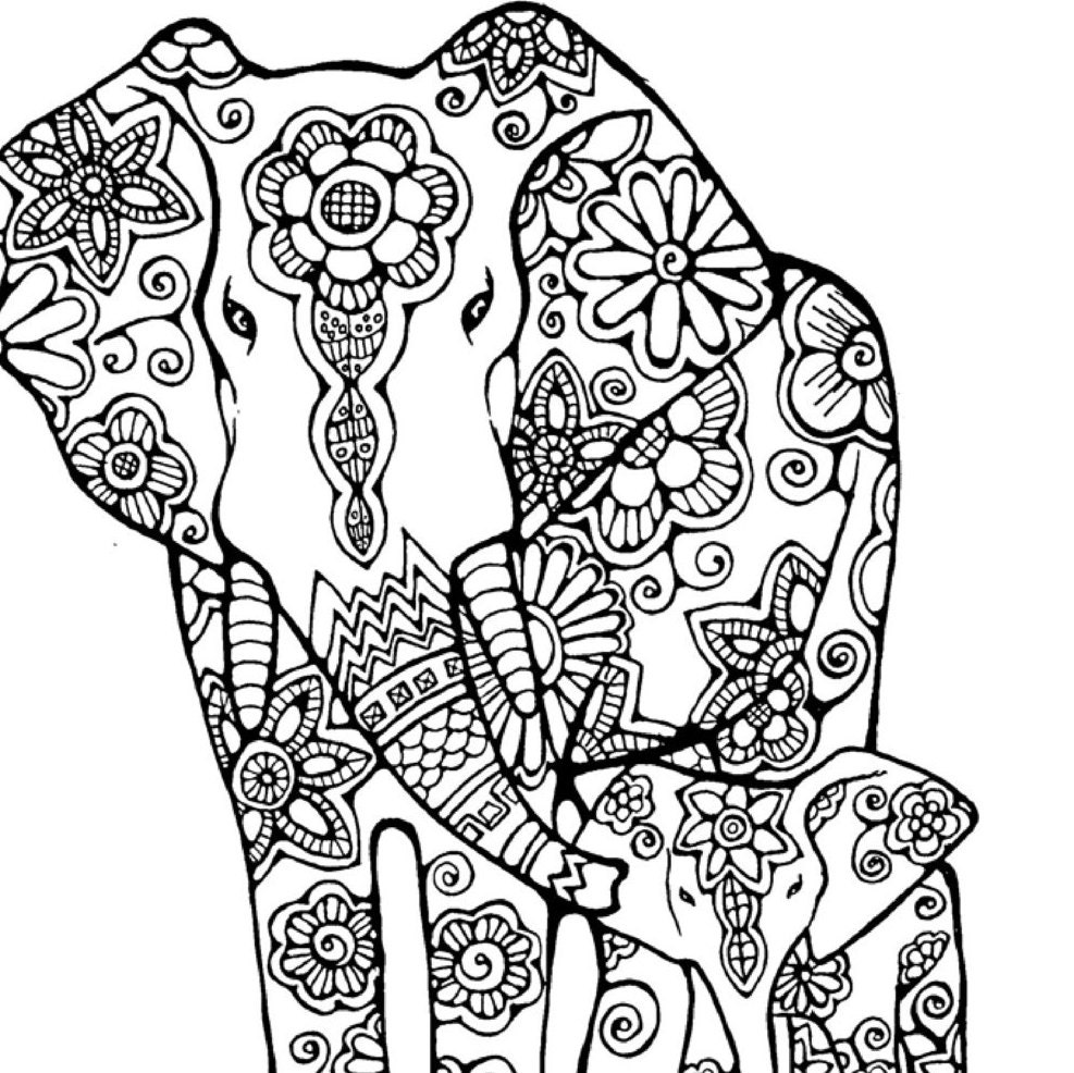 Elephant Coloring Page to Print and Color Nature Flowers | Etsy