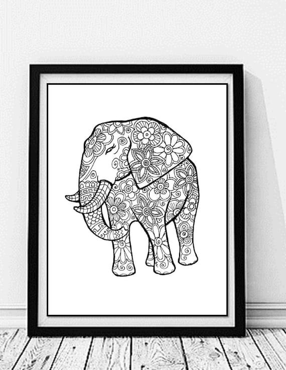 Elefanten Malvorlagen Druck und Farbe Natur Blumen