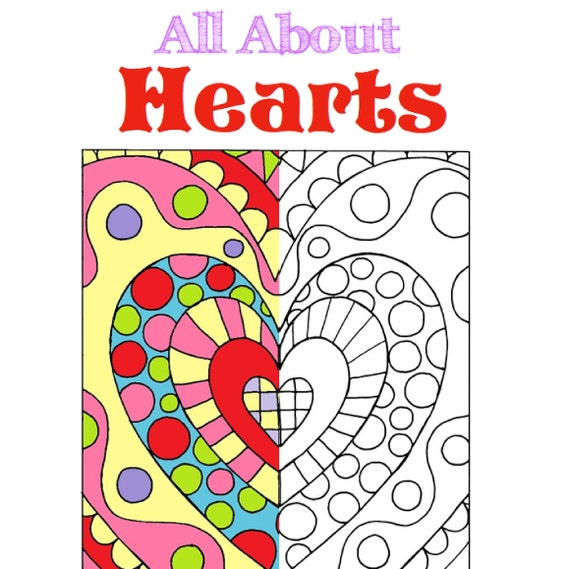 All About Hearts Adult Coloring Book Instant Digital Etsy