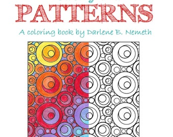25 Adult Coloring Pages, Geometric Pattern Coloring Book, Gift for her under 20