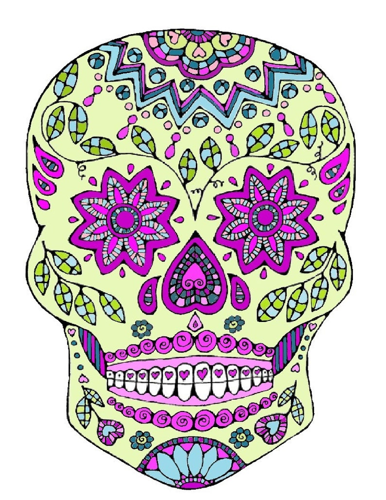 Sugar Skull Coloring Page Adult Coloring Page. Colouring | Etsy
