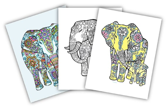 Elephants 3 Coloring Pages Instant Digital