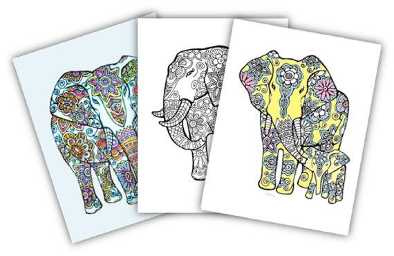 Malvorlagen Von Elefanten 3 Erwachsene Digitale Etsy
