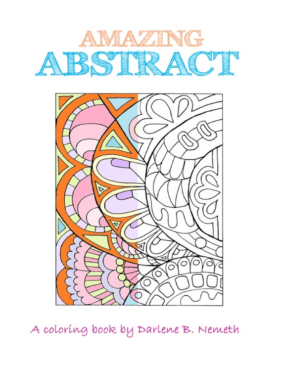 Abstract Coloring Book Abstract Coloring Pages Adult Etsy